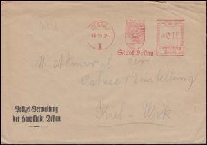 AFS Stadt Dessau 15.10.34 Polizeiverwaltung der Hauptstadt Dessau, Brief n. Kiel