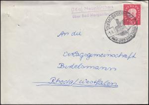 Landpost Neunkirchen über Bad Mergentheim auf Brief SSt BAD MERGENTHEIM 9.6.61