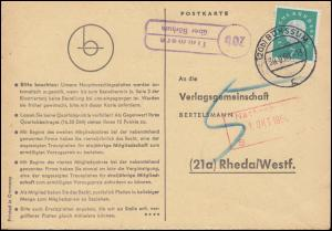 Landpost Timmern über BÖRSSUM 30.9.1960 auf Postkarte nach Rheda/Westf.