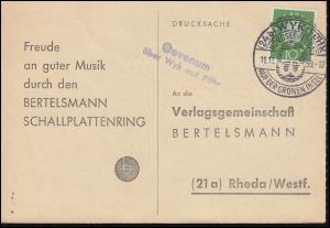 Landpost Oevenum über Wyk auf Föhr auf Postkarte SSt WYK (FÖHR) 11.11.1960
