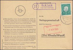 Landpost Esklum über LEER (OSTFRIES) 2.11.1960 auf Postkarte nach Rheda/Westf.