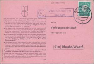 Landpost Zierolshofen über KEHL 1.10.1960 auf Postkarte nach Rheda/Westf.