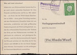Landpost Penzendorf über SCHWABACH, Postkarte SSt SCHWABACH 1.12.1960 nach Rheda