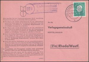 Landpost Liebenscheid über RENNEROD 5.10.1960 auf Postkarte nach Rheda/Westf.