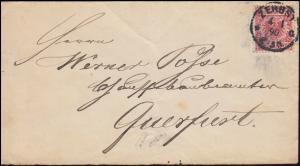 47 Reichsadler 10 Pf EF auf Brief ZERBST 4.1.1890 nach QUERFURT 4.1.90