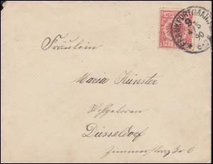 47 Reichsadler 10 Pf EF auf Brief FRANKFURT / MAIN 9 - 4.5.1890 nach Düsseldorf