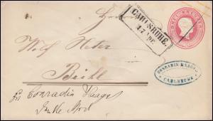 Baden Umschlag Großherzog Friedrich 3 Kr. rot CARLSRUHE 17.4. nach BÜHL 17.4.