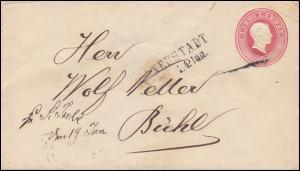 Baden Umschlag Großherzog Friedrich 3 Kreuzer rot Zweizeiler NEUSTADT 14.6.