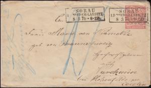 Norddeutscher Bund U 1Aa Ziffer 1 Groschen SORAU / NIEDERLAUSITZ 8.3.1870