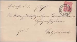 41 Ziffer 10 Pfennig auf Brief MERSEBURG 27.9.1889 nach SALZMÜNDE 28.9.89