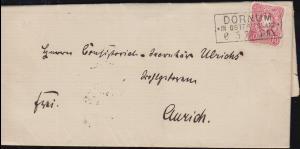 33 Ziffer 10 Pfennige auf Brief DORNUM IN OSTFRIESLAND 6.5.1877 nach AURICH 7.2.