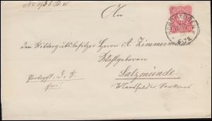 41 Ziffer 10 Pfennig auf Brief NORDHAUSEN 16.10.1888 nach SALZMÜNDE 17.10.88