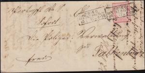 4 Brustschild auf Brief Rahmenstempel BRIEG / BRESLAU 29.1.1872 nach Falkenberg