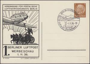 PP 122 Berliner Luftpost-Werbeschau Schmuck-PK passender SSt BERLIN 1.11.1936