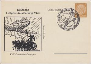 PP 122 Luftpost-Ausstellung 1941 Schmuck-Postkarte passender SSt BERLIN 6.6.1941
