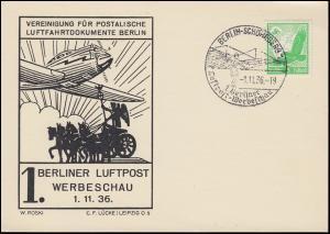 1. Berliner Luftpost-Werbeschau Schmuck-Postkarte passender SSt BERLIN 1.11.1936