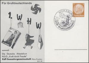 PP 122 KdF-Sammlergemeinschaft 1. WHW Buch passender SSt WÜRZBURG 26.3.1939