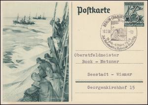 Sonderpostkarte P 266  WHW Hochseefischerei SSt BERLIN Autoausstellung 18.2.1938