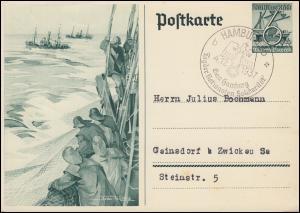 Sonderpostkarte P 266  WHW Hochseefischerei SSt HAMBURG Solidarität 4.12.1937