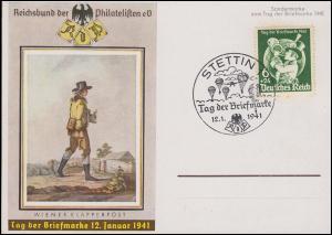 762 Tag der Briefmarke Postillion auf FDC mit ESSt STETTIN T.d.B. 12.1.1941