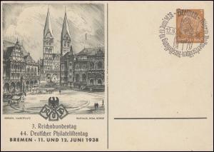 PP 122 Reichsbundtag und Philatelistentag 1938 passender SSt BREMEN 12.6.38