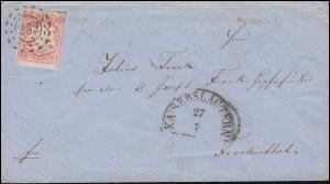 Bayern 15 Wappen 3 Kr. Brief offener Mühlrad 232 Halbkreis KAISERSLAUTERN 27.7.