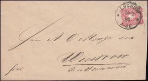 41 Ziffer 10 Pfennig auf Brief LÜCHOW 24.7.1889 nach WUSTROW / HANNOVER 24.7.89