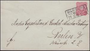 Umschlag U 12A Adler 10 Pfennig MARBURG / CASSEL 27.10.1885 nach BERLIN 28.10.