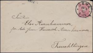 Umschlag U 12A Adler 10 Pfennig JENA 19.6.1890 nach TREUCHTLINGEN 20.6.90