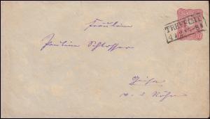 Umschlag U 12A Adler 10 Pfennig TREFFURT 4.2.1878 nach GEISA 5.2.78