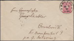 Umschlag U 12A Adler 10 Pfennig Einkreis BOCHUM 22.9.1881 nach OSNABRÜCK 23.9.81