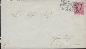 Umschlag U 12A Adler 10 Pf. MARBURG / CASSEL 4.12.1885 nach RETHEN / LEINE 4.12.