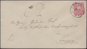 Umschlag U 12A Adler 10 Pfennig USLAR 28.6.1885 nach LEIPZIG 28.6.