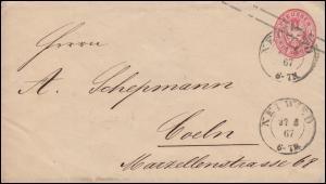 Preußen Umschlag U 23A Adler 1 Sgr. rosa NEUWIED 27.5.1867 nach CÖLN 27.5.