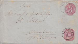 Württemberg Umschlag U 28 Aufbrauchsausgabe 10 Pf. zu 3 Kr. FELLBACH 19.8.1875