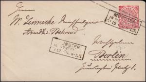 Norddeutscher Bund U 1Ab Ziffer 1 Groschen MÜNSTER  IN WESTFALEN 11.12.1868