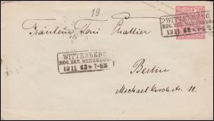 Norddeutscher Bund U 1Aa Ziffer 1 Groschen WITTENBERG / MERSEBURG 12.11.1863