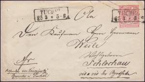 Norddeutscher Bund U 1Aa Ziffer 1 Gr. Kastenstempel TUCHEL 25.3. nach Schlochau