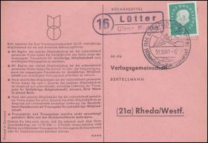 Landpost Lütter über Fulda auf Postkarte SSt GERSFELD (RHÖNGEB.) 31.01.1960