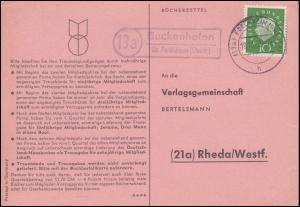 Landpost Buckenhofen über FORCHHEIM (OBERFR) 18.10.1960 auf Postkarte nach Rheda