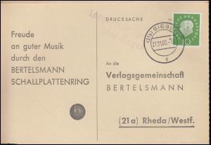 Landpost Langenholdinghausen über SIEGEN 21.11.1960 auf Postkarte nach Rheda