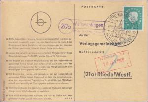 Landpost Volkwardingen über Soltau (Han) auf Postkarte SSt SOLTAU 19.10.1960