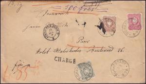 41+43+44 Adler 10+25+50 Pfennig Wertbrief SCHAFSTÄDT 20.5.1883 nach PARIS 21.5.