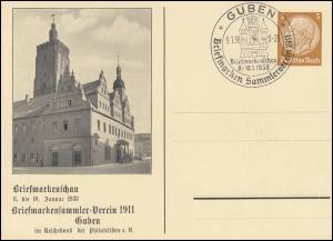 PP 122 Briefmarkenschau BSV 1911 Guben passender SSt GUBEN Rathaus 9.1.1938