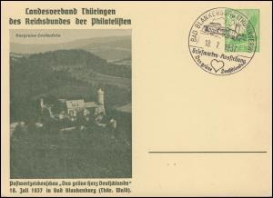 PP 142 Landesverband Thüringen Briefmarkenausstellung BAD BLANKENBURG 18.7.37