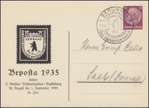 PP 122 Beposta Berliner Briefmarken-Ausstellung passender SSt BERLIN 30.8.1935