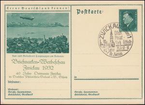 Bildpostkarte P 192 Briefmarken-Werbeschau Zwickau 1932 passender SSt 25.9.1932