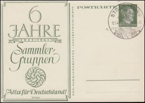 P 154 Alles für Deutschland 60 Jahre Sammler-Guppen SSt STRASSBURG 12.1.1941
