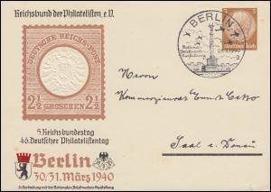 PP 122 Philatelistentag Brustschildmarke SSt BERLIN Briefmarkenausstellung 1940