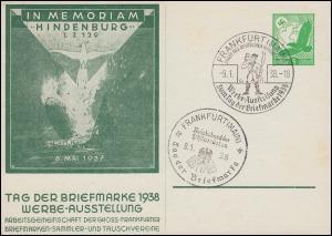 PP 142 Im Memoriam Hindenburg LZ 129 - Tag der Briefmarke 2 SSt FRANKFURT 9.1.38